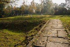Flagstone bedekte weg in hellingsgras van zonnige de winterochtend stock afbeelding