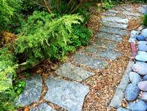 Garden path. Flagstone path in a garden Stock Photo