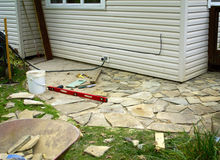 Flagstone Patio Under Construction Stock Photos