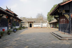 Flagstone paved courtyard of ancient Chinese buildings Royalty Free Stock Images