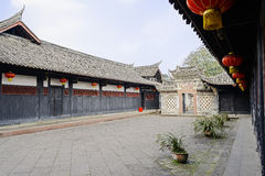 Flagstone paved courtyard of ancient Chinese mansion  Stock Images