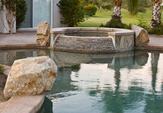 Flagstone Swimming Pool Spa Stock Photo