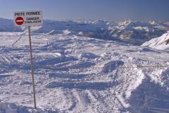 Flaine - Piste closed, Danger Avalanche Royalty Free Stock Photo