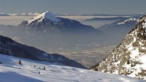 Flaine - schneebedeckte Spitze Stockfotos