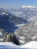 Flaine - Valley view. View over the piste into the valley below. Flaine, France stock image
