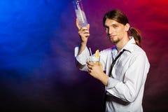 Barman showing his skills. Royalty Free Stock Photo