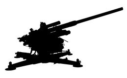 Flak 38. Silhouette of Flak 38, 105 mm anti-aircraft gun Stock Images