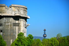 Flak tower G, Vienna. Flak towers (German: Flaktuerme) were 8 complexes of large, above-ground, anti-aircraft gun blockhouse towers constructed in the cities of Royalty Free Stock Photo