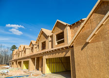 Flakeboard Sheathing on New Townhomes Stock Photo