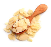 Flaked almond closeup. Flaked almond close up on white backgrounds Stock Photos