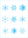 Flakes. Illustration of blue flakes, winter, holiday Stock Photo