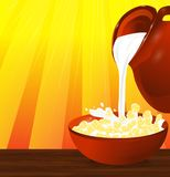 Flakes corn or wheat in a bowl. Milk pouring from the jug a plat Royalty Free Stock Photos