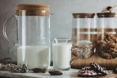 Flakes and cup of milk for breakfast. Concept of healthy food. Warm toning image. Rustic styling Stock Image