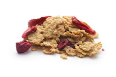 Flakes with dried srawberries and cherrys Royalty Free Stock Photos