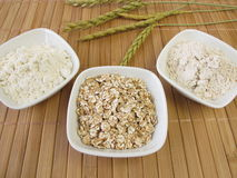 Flakes, flour and wholemeal flour from spelt Stock Image