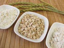 Flakes, flour and wholemeal flour from spelt Royalty Free Stock Image