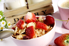 Flakes and fruit. Flakes with fresh fuits. breakfast Stock Photo
