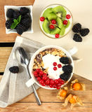 Flakes and fruits Stock Images