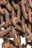 Flakes of rust on old rusty chain close up Royalty Free Stock Photography