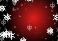 Flakes of snow. Drawings of flakes of snow on black and red background royalty free illustration