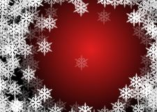 Flakes of snow. Drawings of flakes of snow on red and black background Stock Images