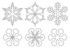 Flakes of snow. Drawings of flakes of snow Royalty Free Stock Image