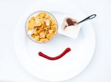 Flakes with yogurt Stock Photos