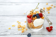 Flakes with yogurt and berries Royalty Free Stock Photo
