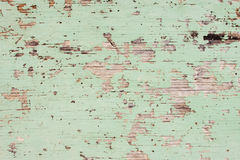 Flaking Green Paint on Faded Wood Background Royalty Free Stock Photography