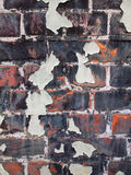 Flaking paint on old brick wall Stock Images