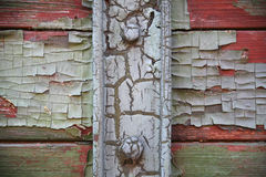 Flaking paint on a very old railway wagon side Stock Photos