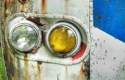 Flaking, Rusting Bus Lights Stock Photography