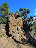 Flaking Stone. Rock formation along the Tumalo Canal Trail - near Tumalo, OR stock image