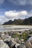 Flakstad Beach, Lofoten Islands, Norway royalty free stock photography