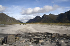 Flakstad Beach on the Lofoten Islands, Norway Stock Photo