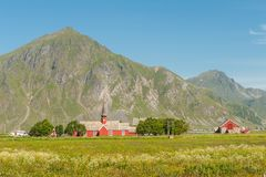 Flakstad church in Lofoten, Norway Stock Photos