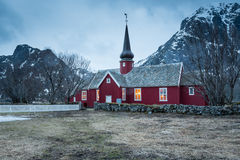 Flakstadkerk, Lofoten-eilanden, Noorwegen stock afbeeldingen