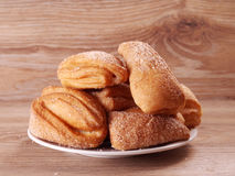 Flaky biscuits. With sugar on a plate Royalty Free Stock Photo