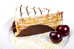 Flaky cake with cherries and almond Royalty Free Stock Photos