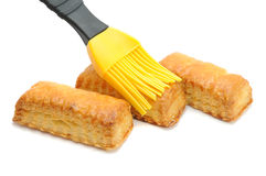 Flaky Cookies And Pastry Brush Royalty Free Stock Photos