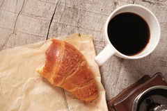Flaky croissants and coffee Royalty Free Stock Images