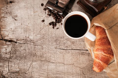 Flaky croissants and coffee Royalty Free Stock Image