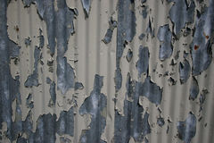 Flaky paint. Weathered paint on a corrugated iron wall Stock Photo