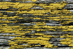 Flaky yellow paint on wood Royalty Free Stock Photo