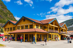 Flam Downtown. The downtown area in Flam, one of the most popular Norwegian tourist destinations, located on the famous Sognefjord, on July 10 in Flam, Norway Stock Images
