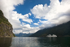 Flam fjord, Norway with cruise ship Royalty Free Stock Images