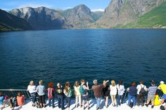 The Aurlandsfjord and Naeroyfjord - UNESCO protected fjord - cruise. royalty free stock photography