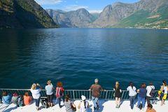 The Aurlandsfjord and Naeroyfjord - UNESCO protected fjord - cruise. stock images