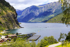 Flam by, Norge Royaltyfri Fotografi