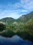 Flam Norway, on the songnefjord. Scenic flam from a distance. Taken from a boat on a fjord: the sognefjord Royalty Free Stock Photos